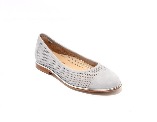 Gray / Silver  Suede / Leather Round Toe Flats Shoes