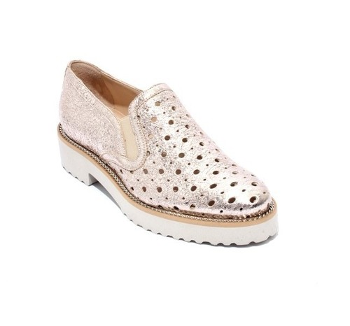 Gold Leather Elastic Slip On Shoes