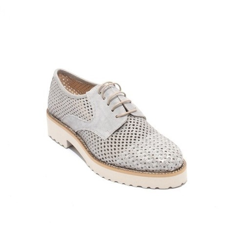 Sparkly Gray Suede / Silver Lace-Up Mesh Shoes