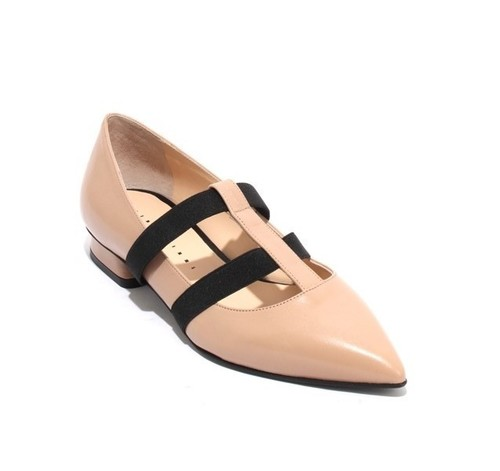 Beige Black Leather Elastic Pointy Classic Shoes