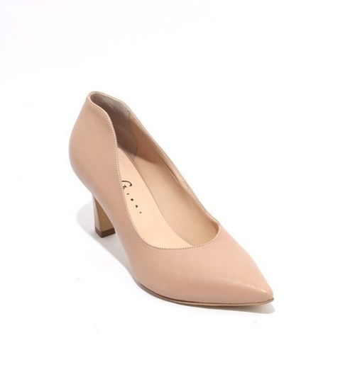 Beige Leather Pointy Toe Classic Heel Pumps