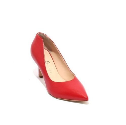 Red Leather Pointy Toe Classic Heel Pumps