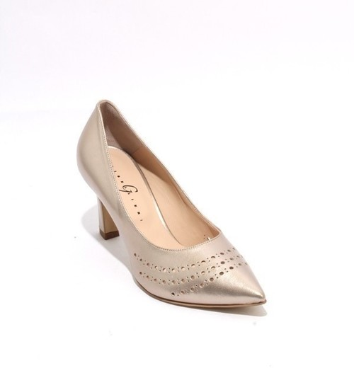 Light Gold Leather Pointy Toe Classic Heel Pumps
