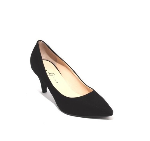 Black Suede Leather Pointy Classics Heels Pumps