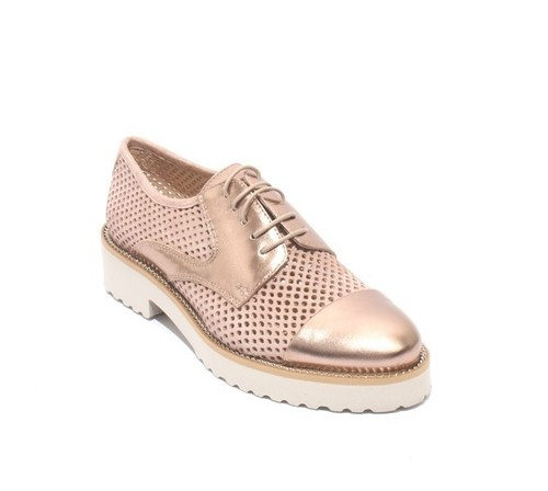 Beige Suede / Gold leather Lace-Up Mesh Shoes