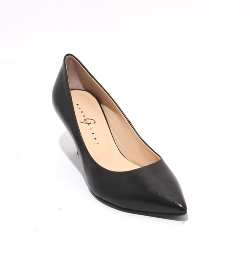 Black Leather Pointy Toe Classic Heels Pumps