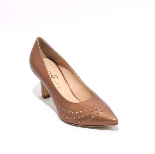 Bronze Leather Pointy Toe Classic Heel Pumps