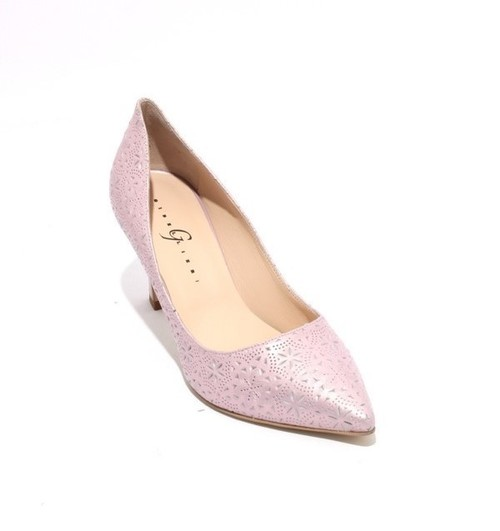 Lilac Stamped Leather Pointy Classic Heel Pumps