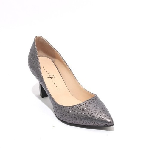 Dark Grey Stamped Leather Pointy Classic Pumps