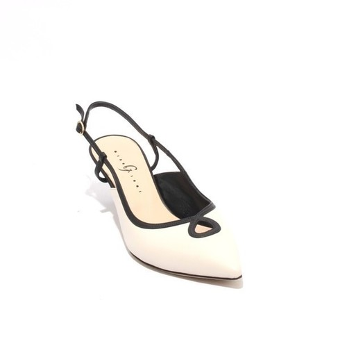 Off White Black Leather Pointy Slingback Heel Sandals