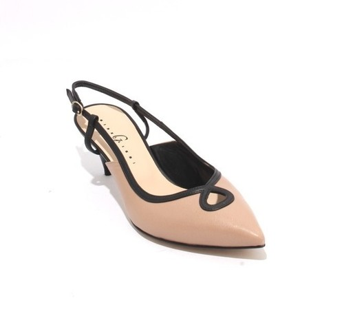 Beige / Black Leather Pointy Slingback Sandals
