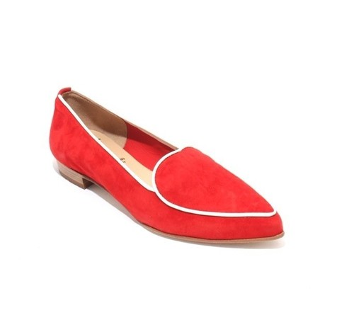Red / White Suede / Leather Pointy Toe Flats Shoes