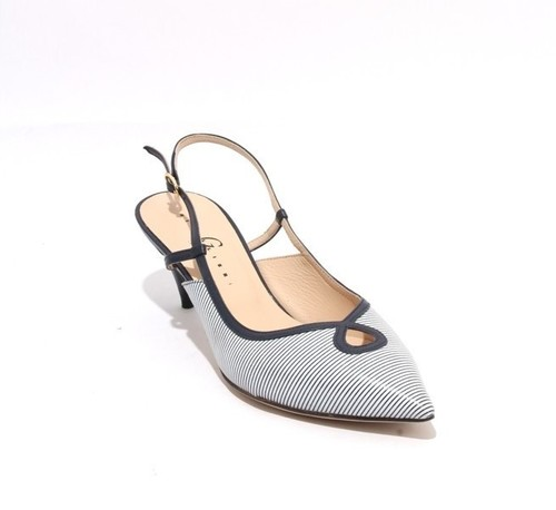 White Navy Leather Pointy Slingback Heel Sandals