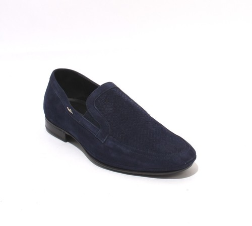 Navy Suede Leather Elastic Loafers Shoes