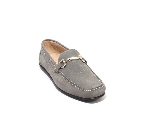 Grey Suede Leather Moccasins Loafers