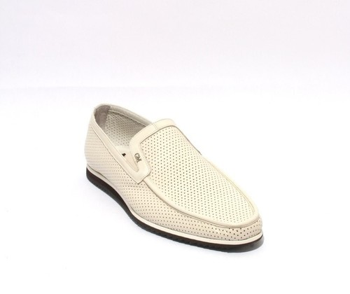 Off White Black / Perforated Leather Moccasins Loafers