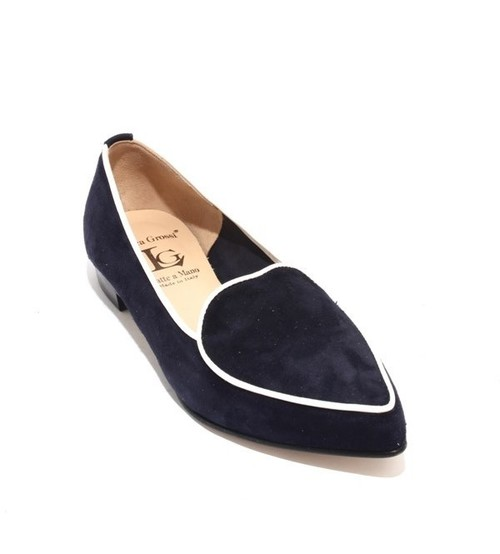 Navy / White Suede / Leather Pointy Toe Flats Shoes