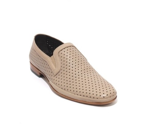 Beige Perforated Leather Elastic Loafers Shoes
