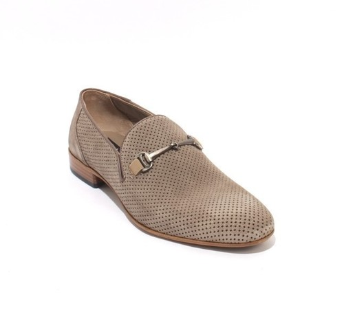 Beige Perforated Suede Elastic Loafers Shoes