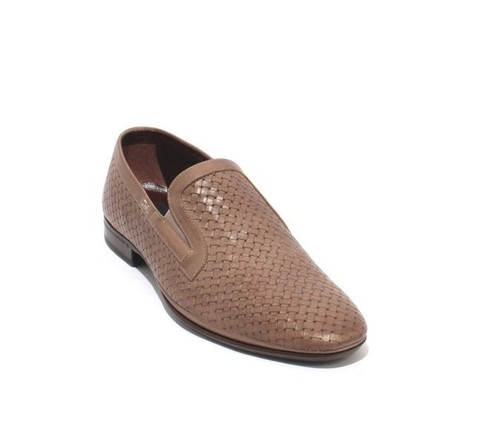 Taupe Perforated Woven Leather Elastic Loafers Shoe