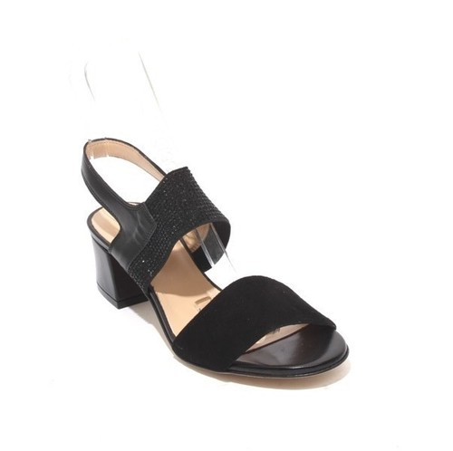 Black Leather Suede Elastic Heel Sandals