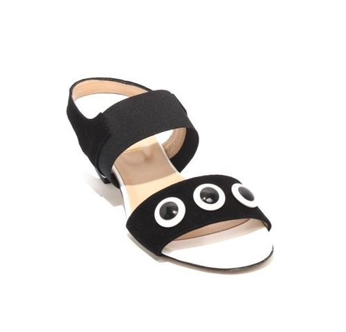 Black / White Leather / Suede Elastic Heel Sandals