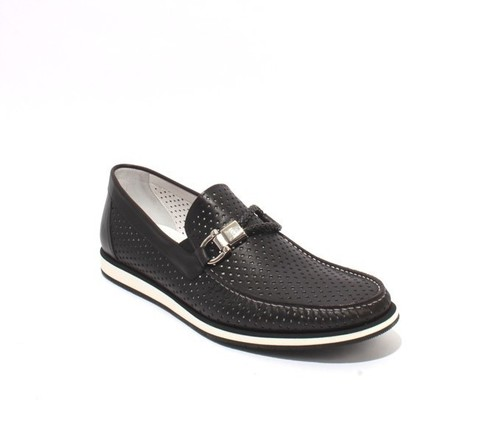 Black White Perforated Leather Moccasins Loafers