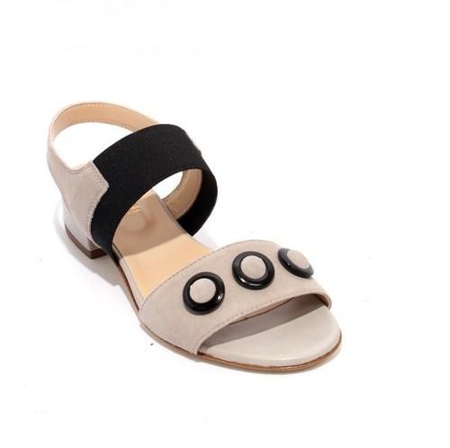Gray / Black Leather Suede Elastic Heel Sandals
