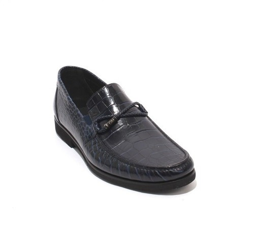 Navy Blue Stamped Leather Elastic Loafers Shoes