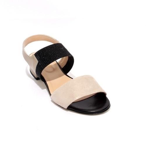 Multicolor Leather Suede Elastic Heel Sandals