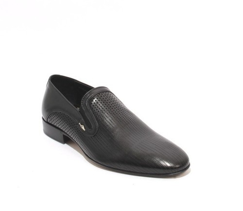 Black Perforated Leather / Elastic / Classic Shoes