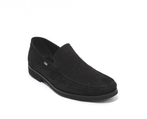 Black Perforated Suede Leather Elastic / Loafers Shoes