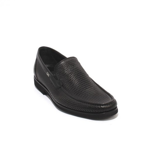 Black Perforated Leather Elastic / Loafers Shoes