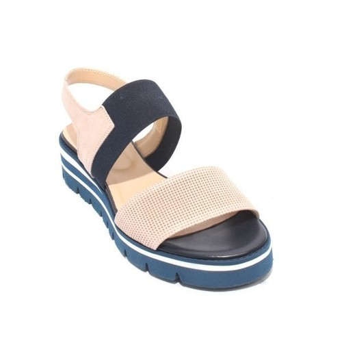 Beige / Navy Suede / Leather Elastic Platform Sandals