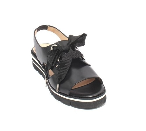 Black Leather Elastic Lace Up Platform Sandals