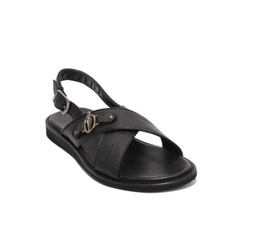 Navy Leather Slingback Slides Buckle Men Sandals