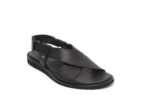 Black Leather Slingback Slides Men Comfort Sandals