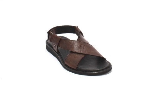 Brown Leather Slingback Slides Men Comfort Sandals
