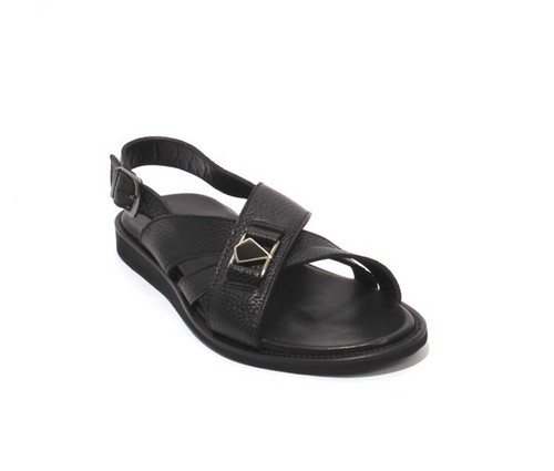 Black Leather Slingback Slides Buckle Men Sandals