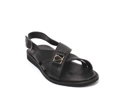Black Leather Slingback Slides Buckle Men Sandals