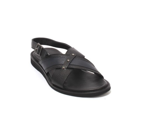 Black Navy Leather Slingback Slides Buckle Men Sandals