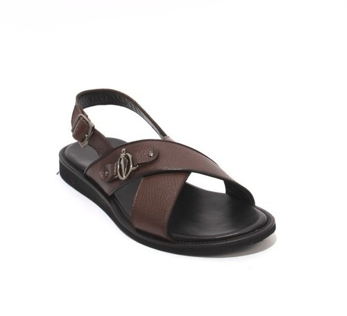 Brown Leather Slingback Slides Buckle Men Sandals