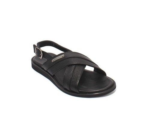 Black Stamped Leather Slingback Slides Men Sandals