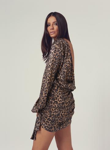 Cheetah Ruched Dress