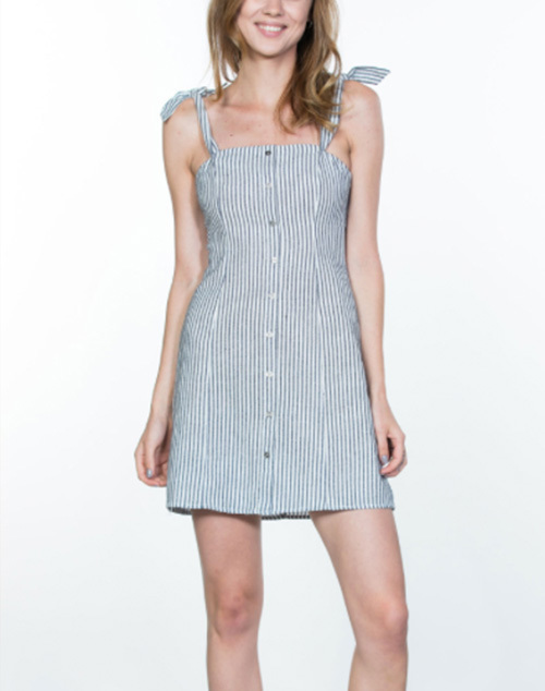 Striped Sleevless Mini Dress With Buttons