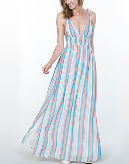 Shoulder Tie Multi Stripe Maxi Dress