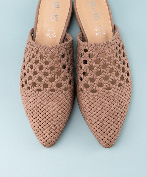 The Rhea Basket Weave Mule Rose