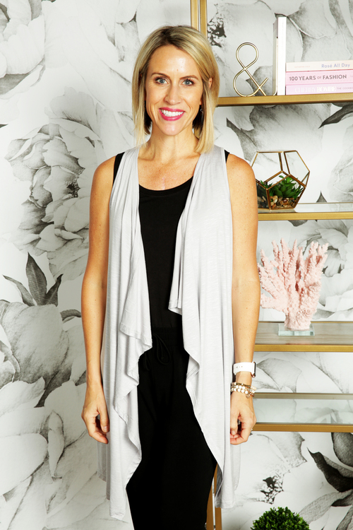 Long Grey Draped Vest