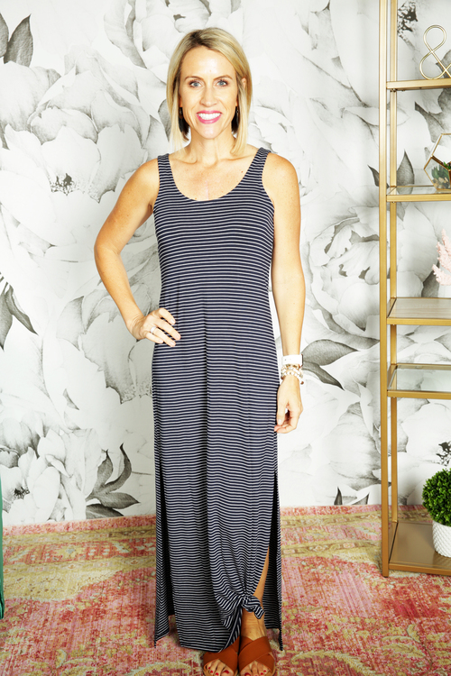 The Micro Stripe Maxi Dress