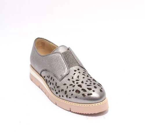 Sparkling Silver Leather Elastic / Mesh Wedge Shoes